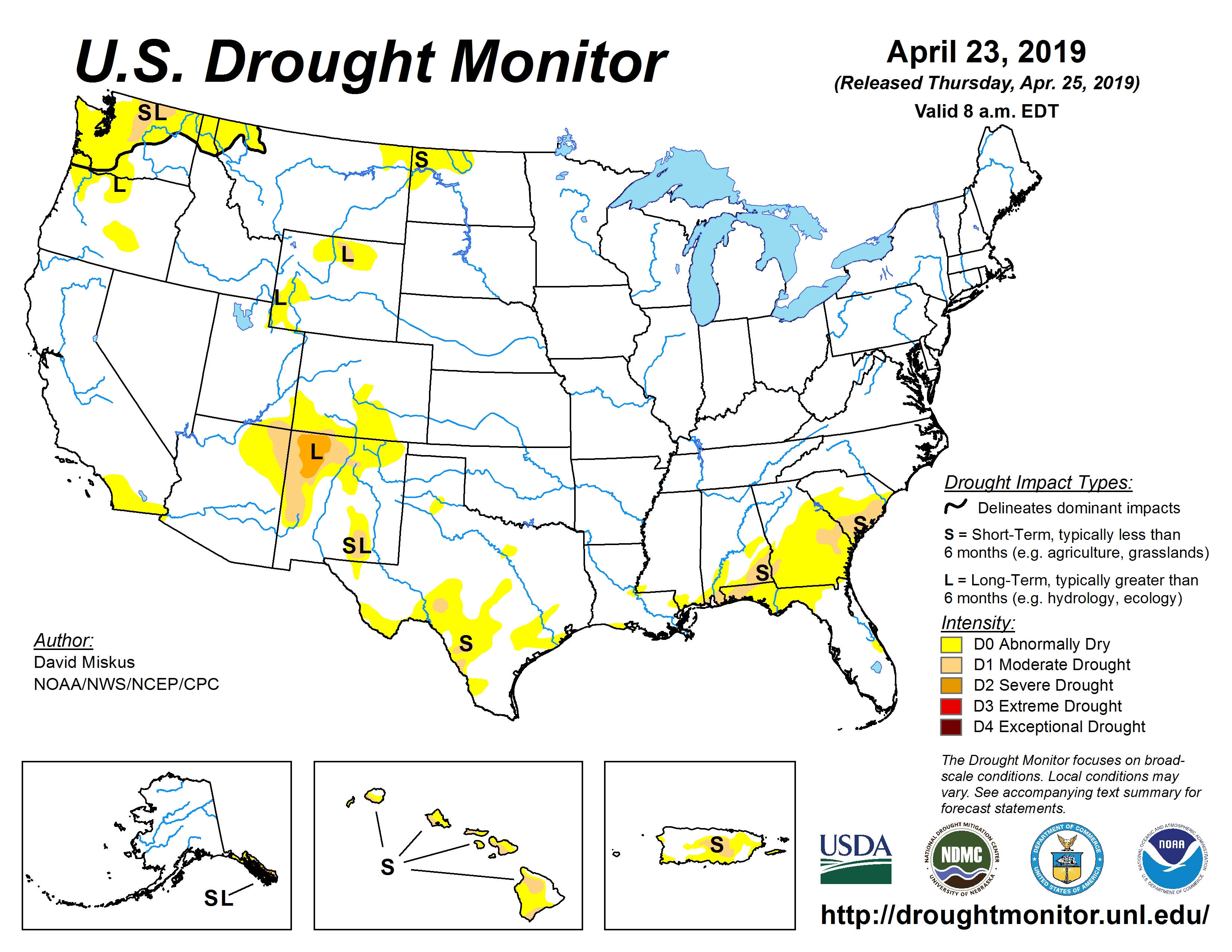 April 23, 2019 Drought Monitor map