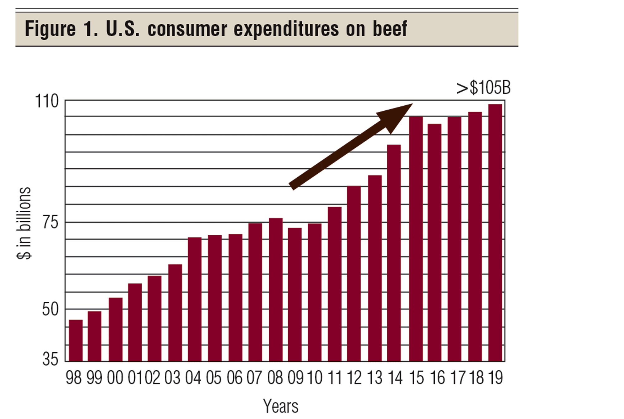 Consumer expenditures on beef