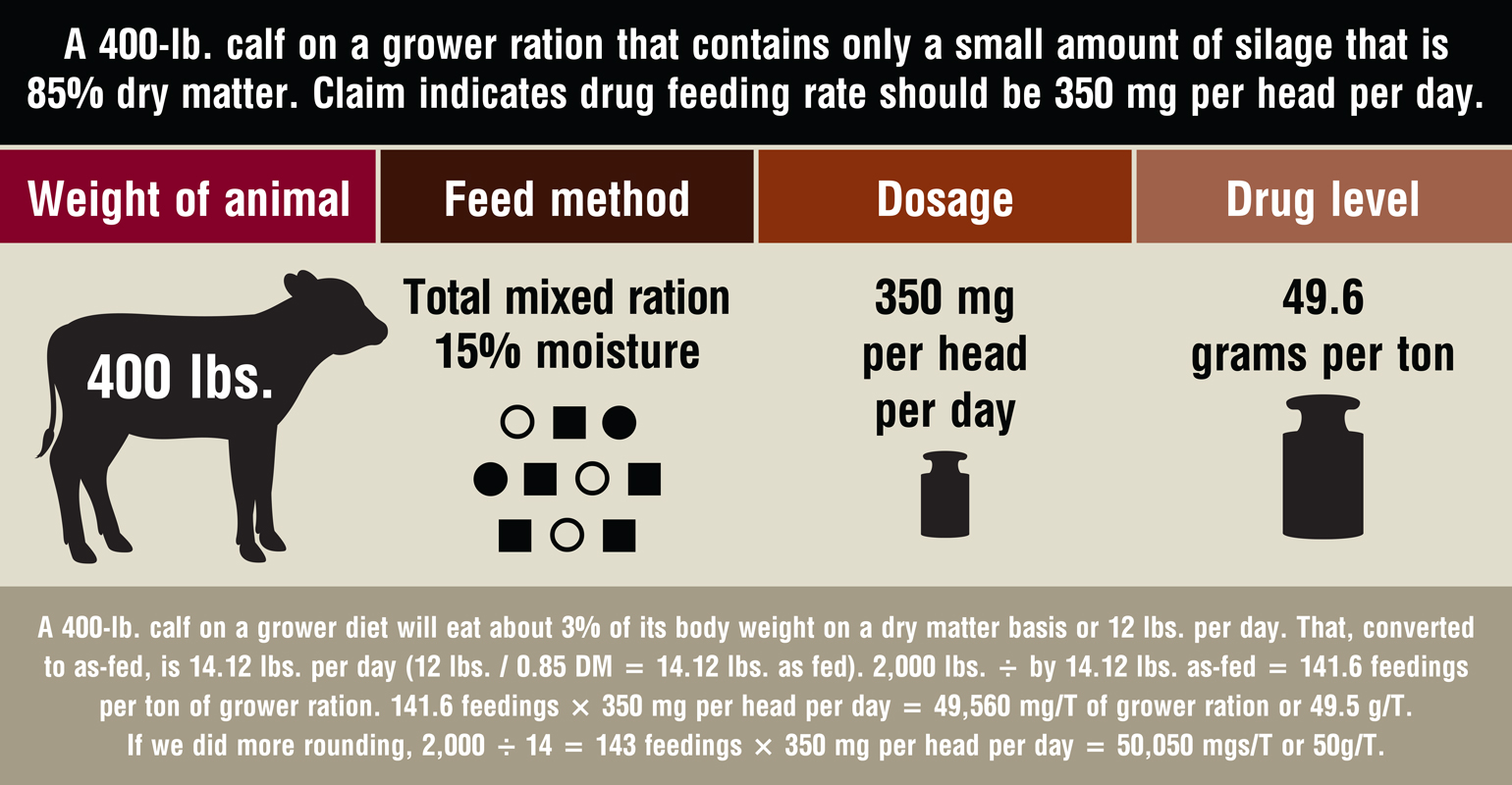 How to correctly calculate grams per ton of drugs in feed