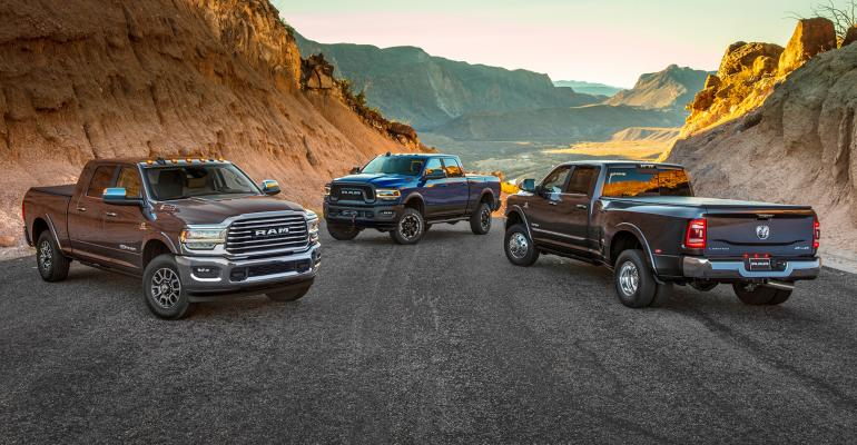Ram 2500, 3500 HD and Power Wagon (center rear)