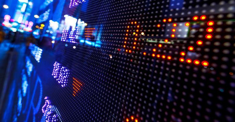 stock market board lights