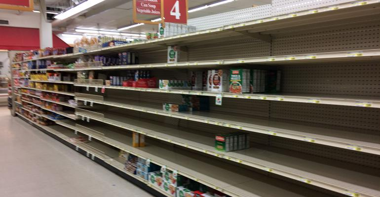 Empty shelves in southeastern Minnesota grocery store in March 2020, amid the Covid-19 pandemic.