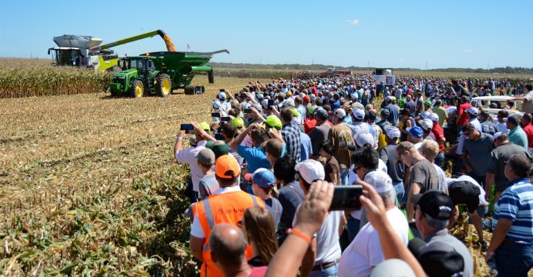 Farmers attending the field demos at a past Farm Progress show