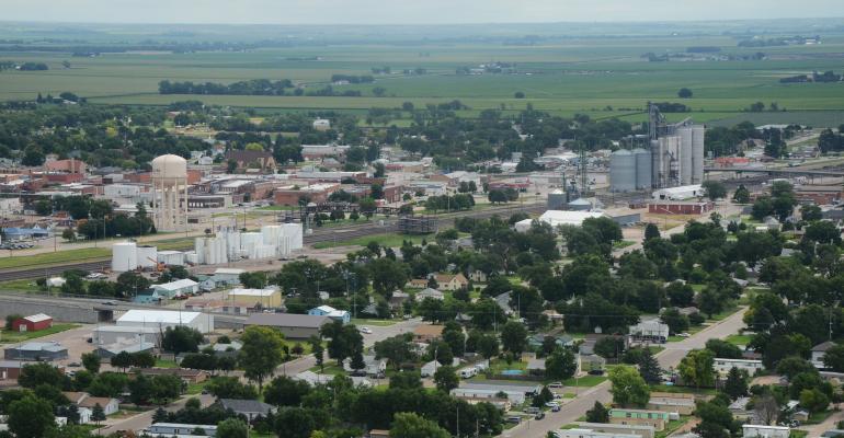 aeriel view of farmland and rural town in nebraska