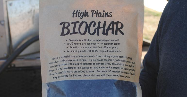 A small bag containing a sample of the type of biochar used in Nebraska cattle feeding studies