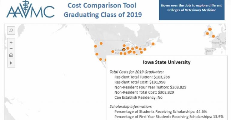 Screenshot of webpage for cost comparison tool