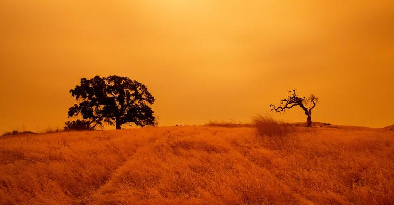 An orange sky filled with wildfire smoke hangs above hiking trails at the Limeridge Open Space in Concord, California, on Sept. 9, 2020.