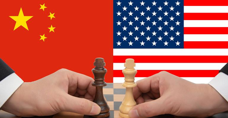 China-US trade war expressed in a chess game