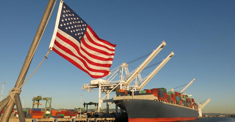 American flag U.S. port container ship