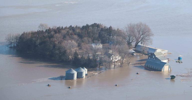 A flooded out farm near Fremont, Neb.