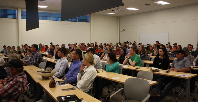 CSU Students watching The Future of the Beef Industry event