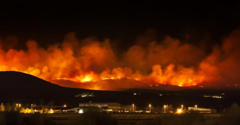 Wildfire burning at night