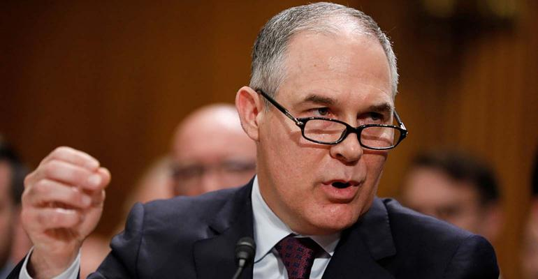 Scott Pruitt testifies during his confirmation hearing.