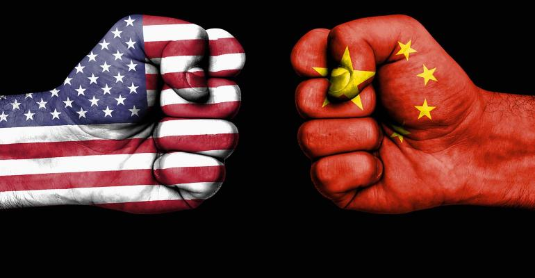 Conflict between USA and China, male fists