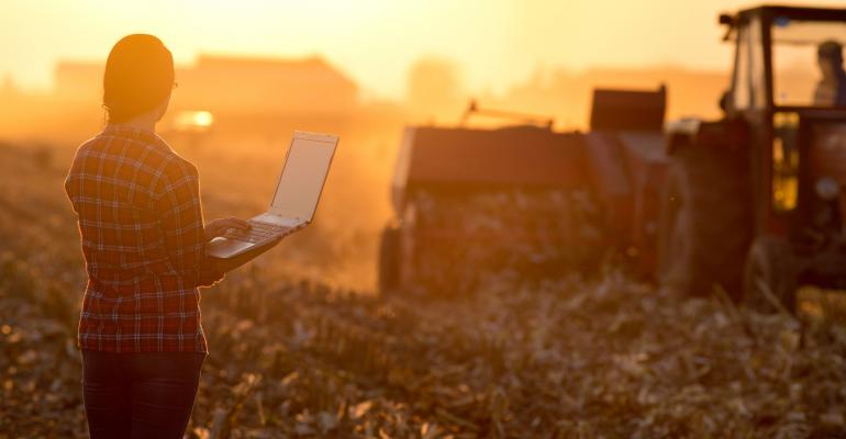 Women holding laptop in field as corn stalks are baled in evening light.