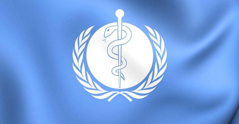 3D Flag of the World Health Organization. Close Up.