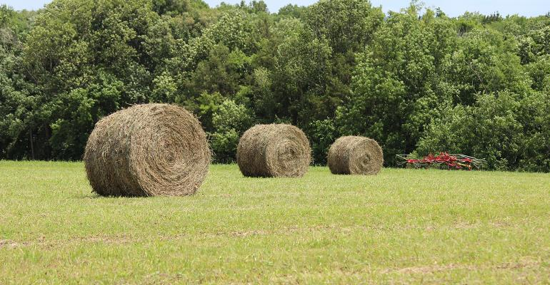 3 round bales of hay