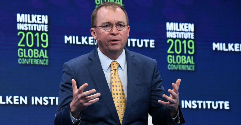 Mick Mulvaney, Assistant to the President and Acting Chief of Staff, The White House, participates in a panel discussion during the annual Milken Institute Global Conference