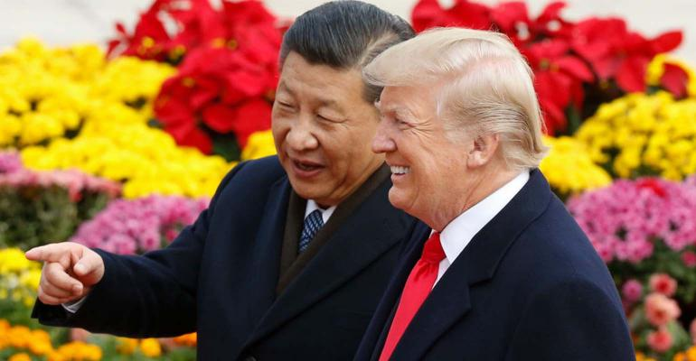 Chinese President Xi Jinping and U.S. President Donald Trump attend a welcoming ceremony Nov. 9, 2017, in Beijing, China.