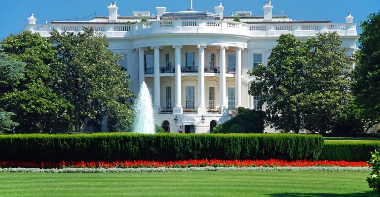 White House in Washington DC on bright warm day