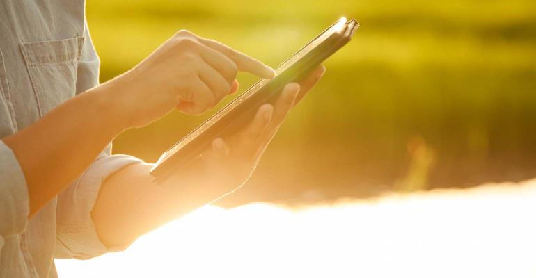 Woman farmer using digital tablet in cornfield with sunlight. technology with agricultural activity concept