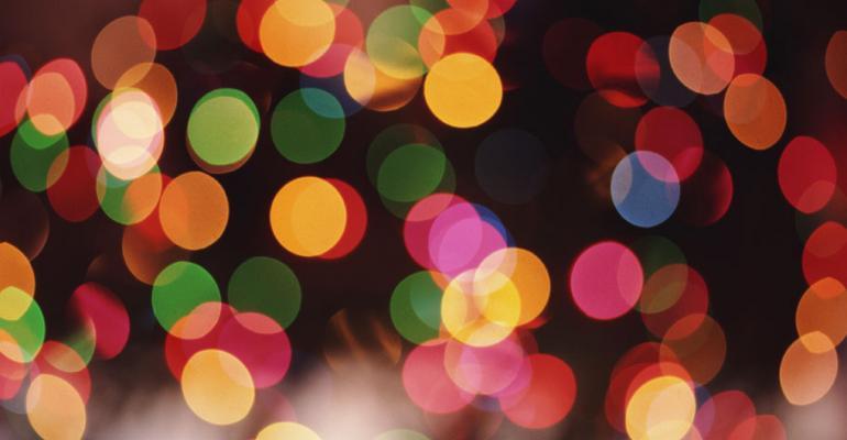 Christmas lights on a tree