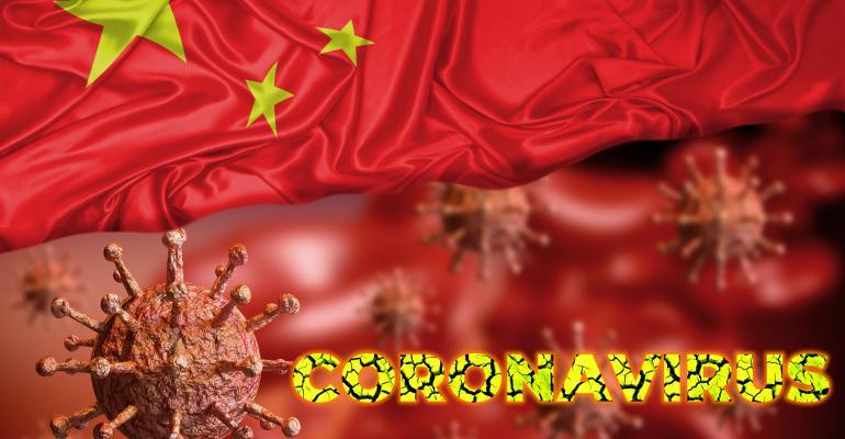 coronavirus written on flag of China
