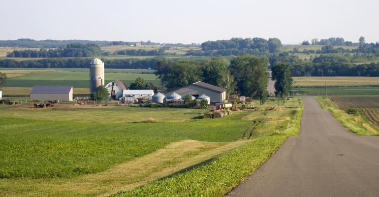 Farm scene on rural road
