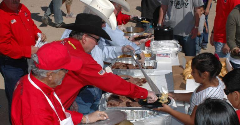 All American Beef Battalion volunteers serving food