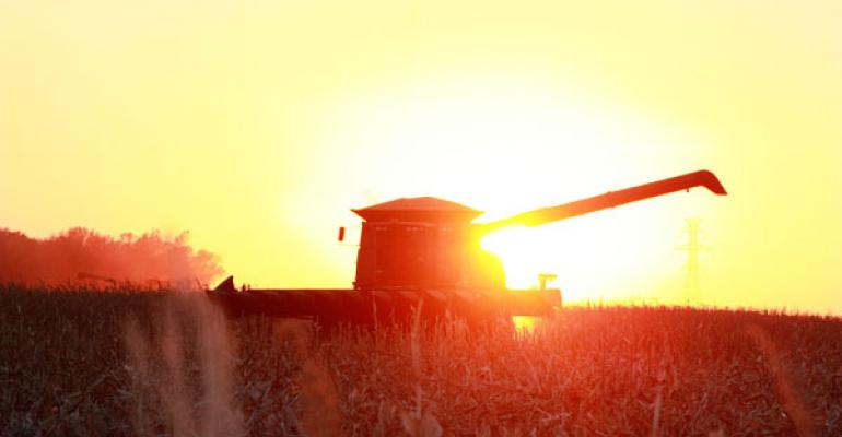 combine during sunset