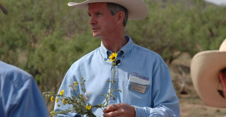 Ken Cearley Texas AgriLife Extension Service wildlife expert and a former rancher led a group wearing both cowboy hats and hunting caps on a ranch tour to show how those two management objectives can be successfully combined