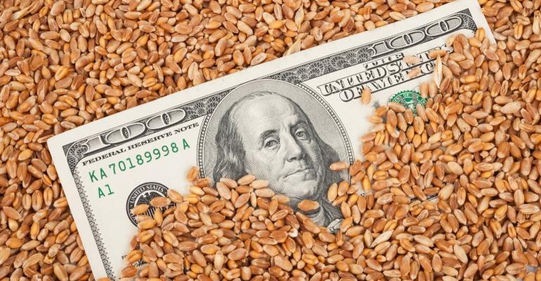 grain covering $100 dollar bill