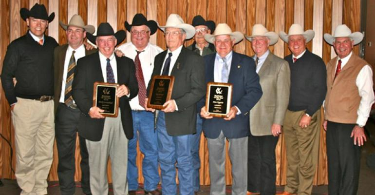 The Livestock Marketeers inducted three members of their fraternity mdash Don Cagwin Dick Carmichael and Jay George mdash into the Hall of Fame during the 2012 National Western Stock Show in Denver CO Theyrsquore shown with the friends who ldquoroastedrdquo them left to right Craig Reiter of Elmore OH Delvin Heldermon of Sulphur OK Dick Carmichael of Springfield TN Lynn Weishaar of Reva SD Jay George of Lebo KS Gary McDonald of Benson AZ Don Cagwin of Virginia IL Sherman Berg of Blair NE Bruce Brooks of Ma