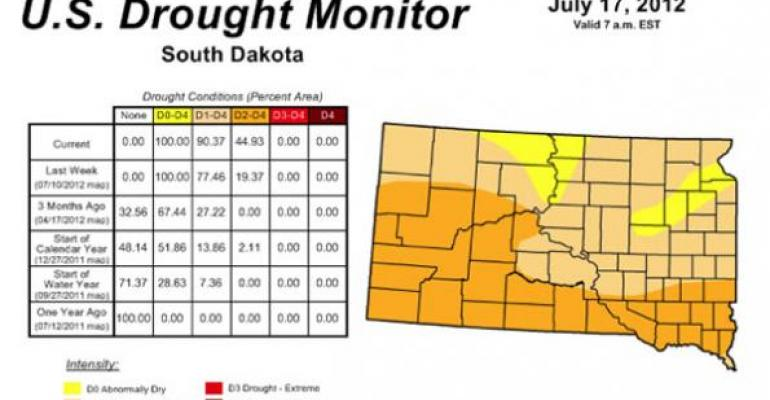 Drought Monitor Update - 90% of South Dakota Is In Drought
