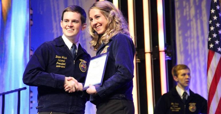 beef intern receives FFA American Degree