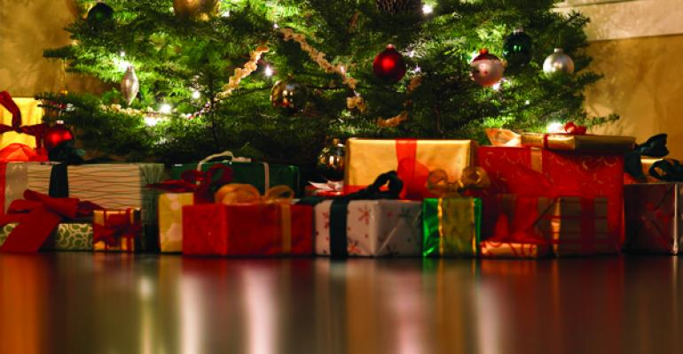 Images of gifts under a christmas tree