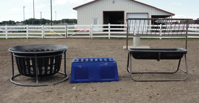 The three small square bale feeders used in the study are left to right the Equine Hay Basket Tarter Farm and Ranch Equipment Dunnville KY The Natural Feeder Story City IA Horse Bunk Feeder and Hay Rack Priefert Manufacturing Mount Pleasant TXPhoto credit Krishona Martinson University of Minnesota