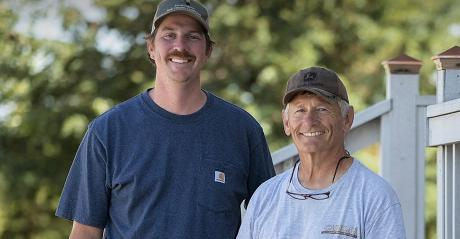 Jerry Moench and cattle producer Mike Blaalid