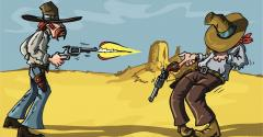 cartoon cowboy shootout