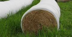 closeup of wrapped bales of hay