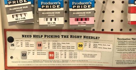 sign showing how to pick right needle gauge for vaccinating beef cattle