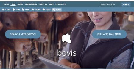 Vetstream's Vetlexicon Bovis landing page