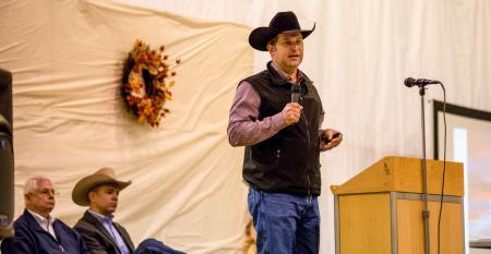 South Dakota Angus cattleman Britton Blair speaks at the 2019 Range Beef Cow Symposium in Mitchell, Neb.