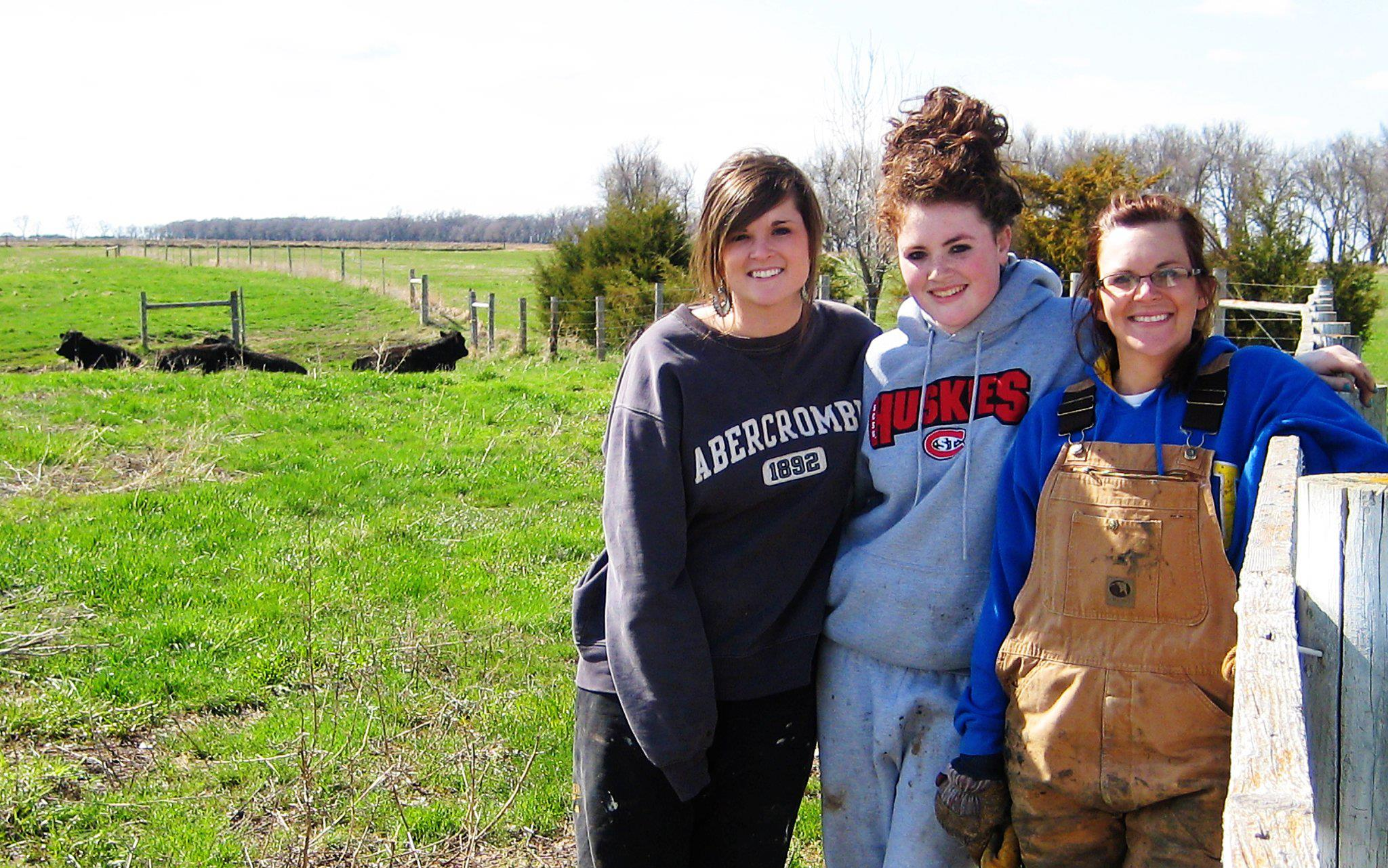 Three sisters working on the ranch