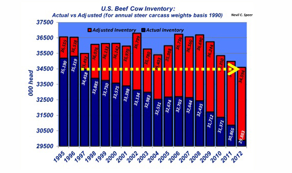 U.S. beef cow inventory numbers, january 2013