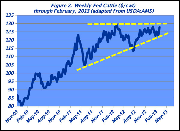 Weekly fed cattle prices