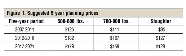 suggested five year planning beef cow prices