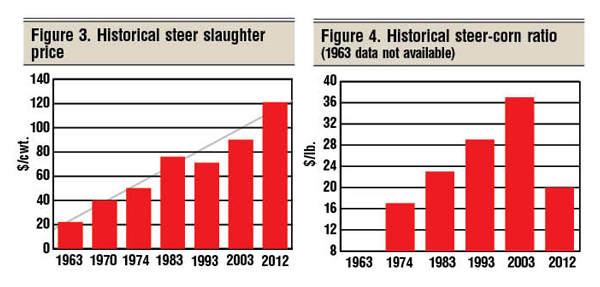 historical steer slaughter prices