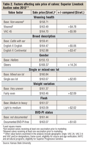 sale prices of calves