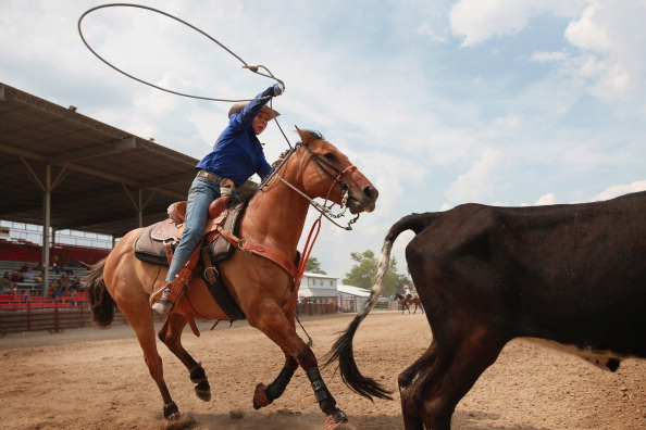 roping at a rodeo